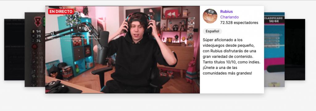 Rubius hablando a sus 75 millones de usuarios en Twitch